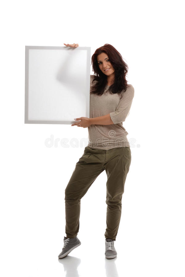 Download Brunette With White Billboard Stock Image - Image: 25247189