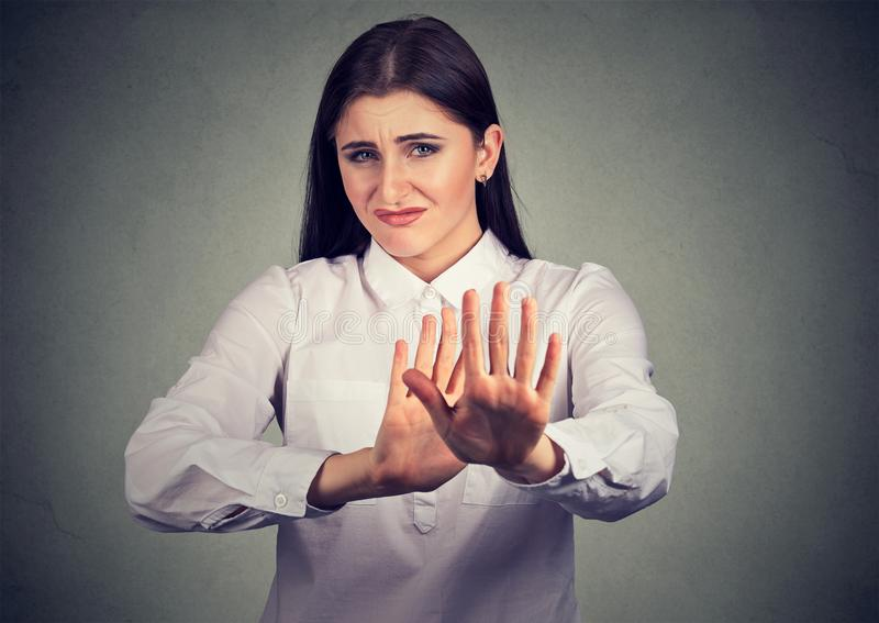 Offended woman asking to stop stock images