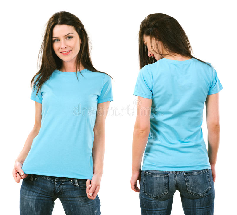 Free Brunette With Blank Light Blue Shirt Stock Image - 36646241