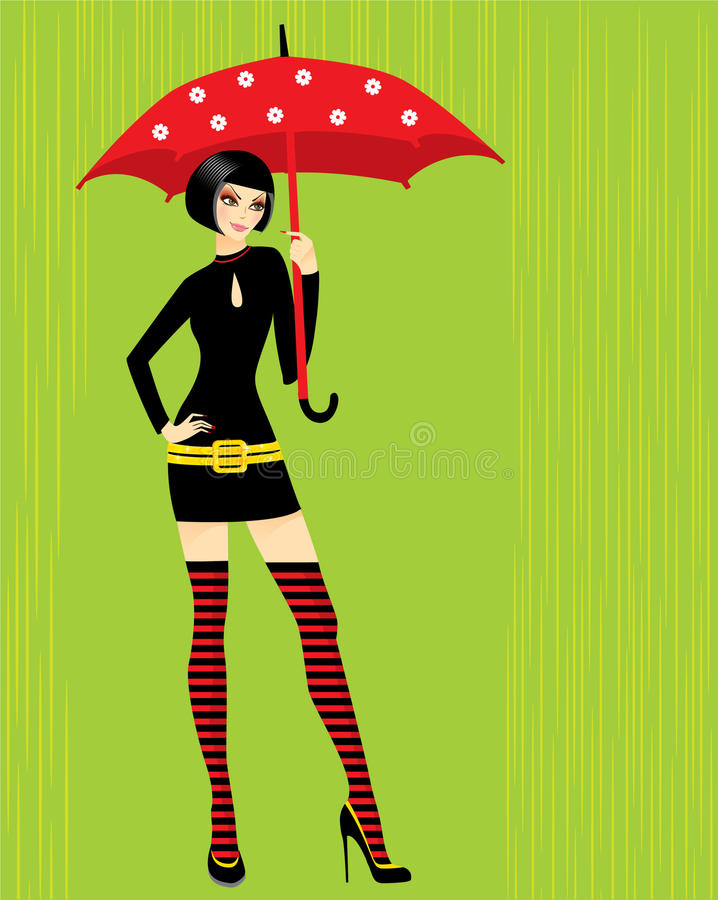Free Brunette With Umbrella Royalty Free Stock Photography - 9576997