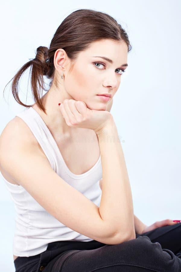 Download Brunette woman stock image. Image of brunette, blue, adult - 24033043