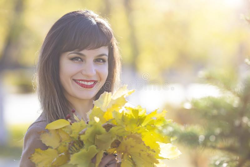 A brunette woman with an armful of leaves in her hands stock photos