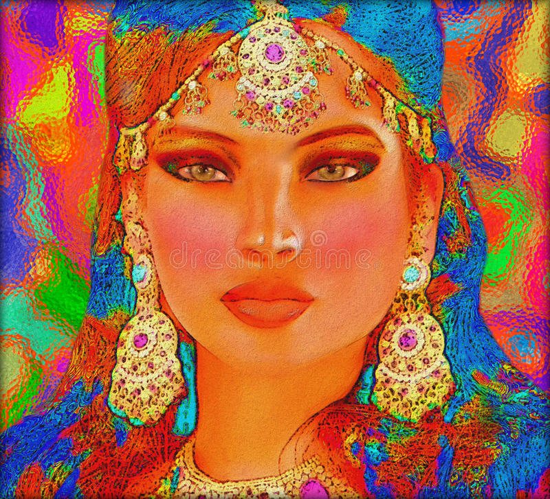 Brunette woman in a beautiful abstract digital art style. Abstract digital art of Indian or Asian woman's face, close up with colorful make up. An oil paint royalty free stock photography