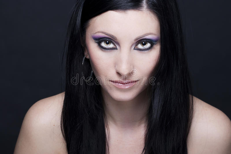 Download Brunette Woman With Blue And Purple Makeup Stock Photo - Image: 17995932