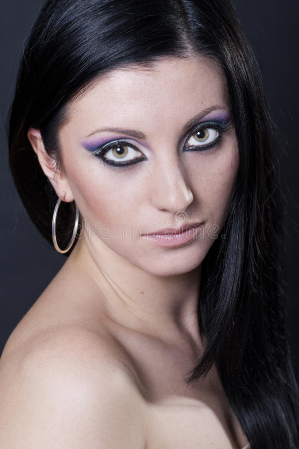 Download Brunette Woman With Blue And Purple Makeup Stock Image - Image: 17996127