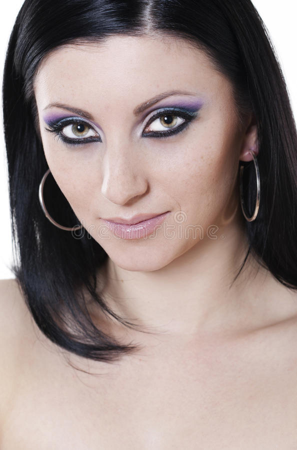 Download Brunette Woman With Blue And Purple Makeup Stock Photo - Image of glamour, brunette: 17996370