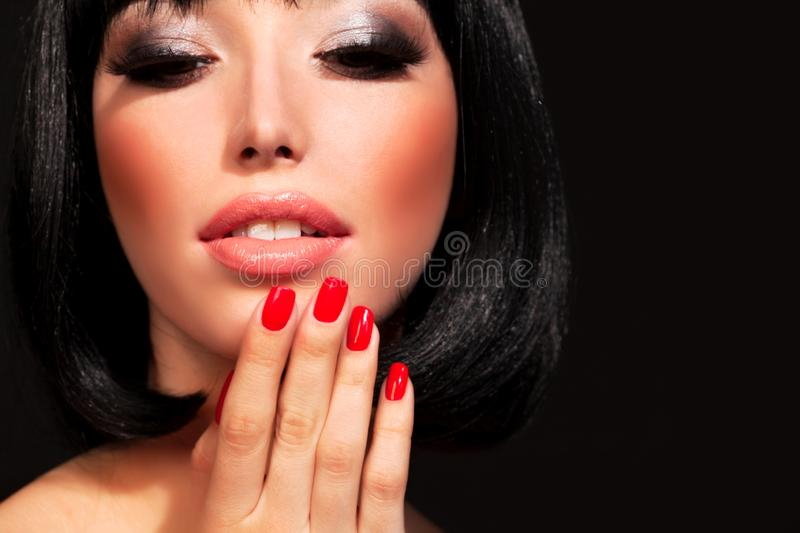 Brunette woman with bright makeup stock images