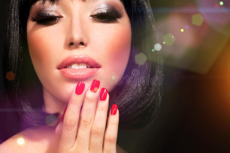 Brunette woman with bright makeup royalty free stock photos