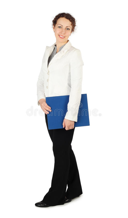 Brunette woman in business dress, hold folder royalty free stock images