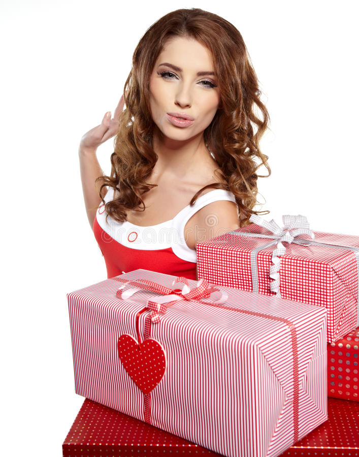 Download Brunette Woman With A Gift Boxes Stock Images - Image: 27804344