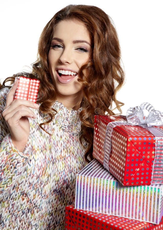 Download Brunette Woman With A Gift Boxes Stock Photo - Image: 27805144