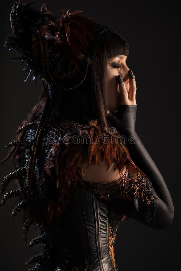 Brunette woman in gothic steampunk gown. Side view of brunette woman in gothic steampunk gown posing at camera stock photo