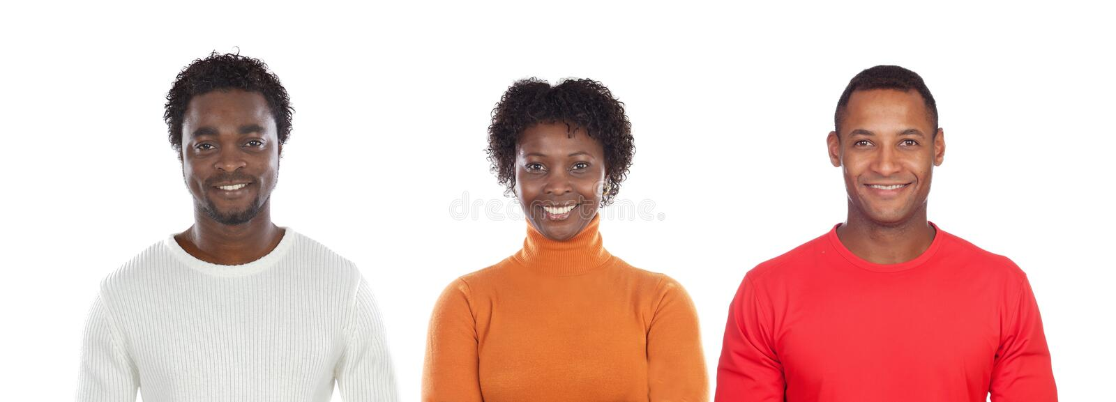 Brunette woman and handsome African man stock image