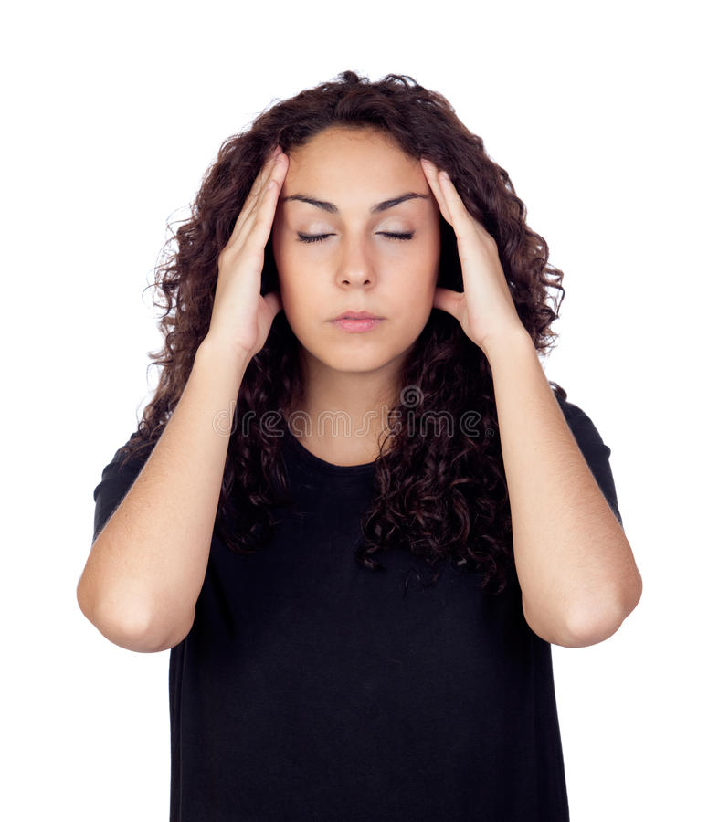 Download Brunette Woman With Headache Stock Photo - Image: 28017934