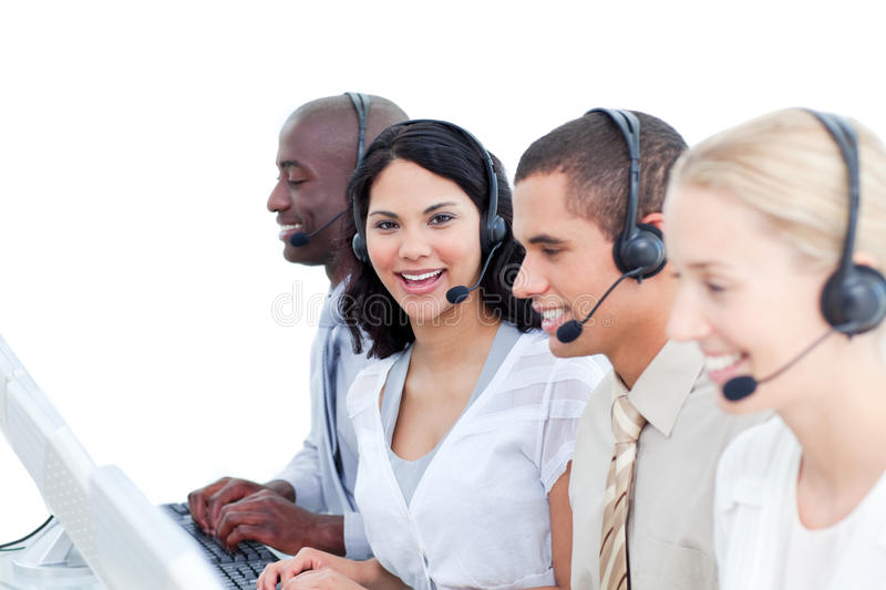 Download Brunette Woman And Her Team In A Call Center Stock Image - Image: 13077495
