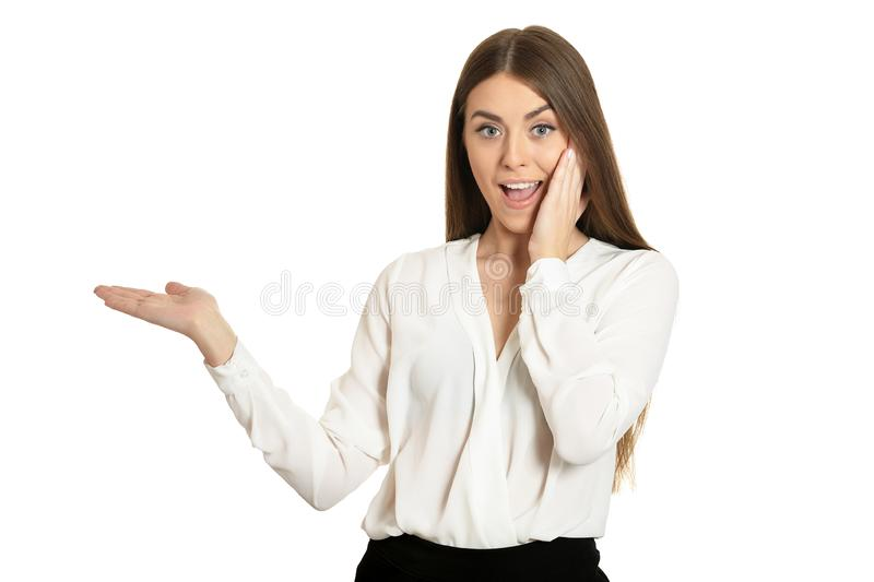 Brunette woman holding copy space on hands isolated stock photography