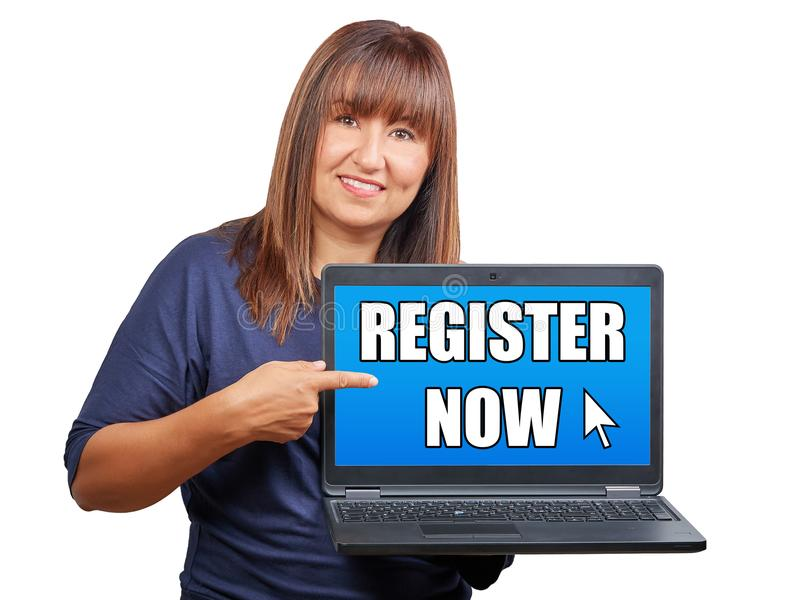 Download Brunette Woman With Laptop Or Notebook Indicating Register Now O Stock Photo - Image of indicating, credential: 109536066