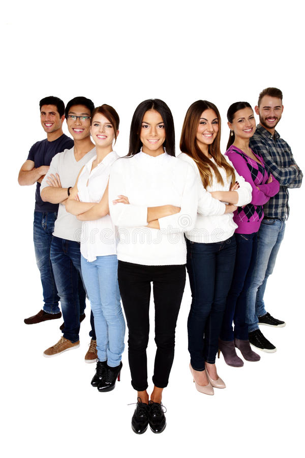 Brunette woman leading her happy team stock images