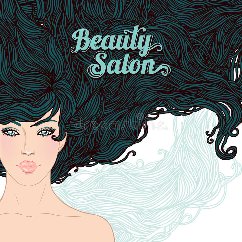 Brunette woman with long hair royalty free illustration