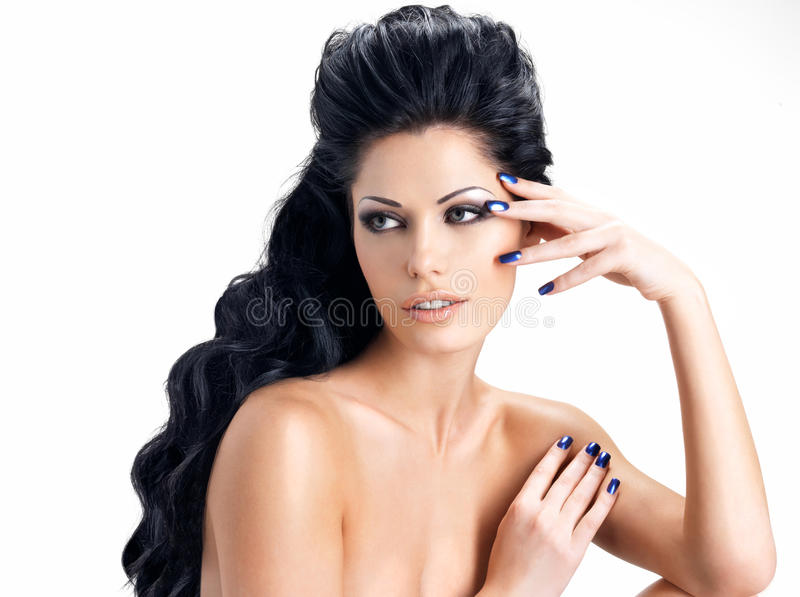 Brunette woman with long hairstyle stock photos