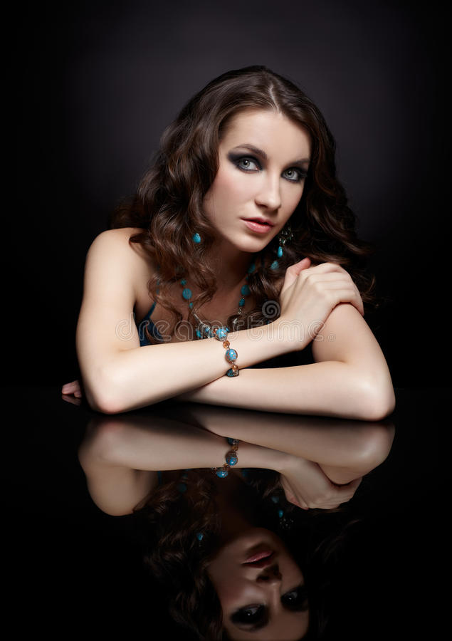 Download Brunette woman and mirror stock photo. Image of ring - 29166098