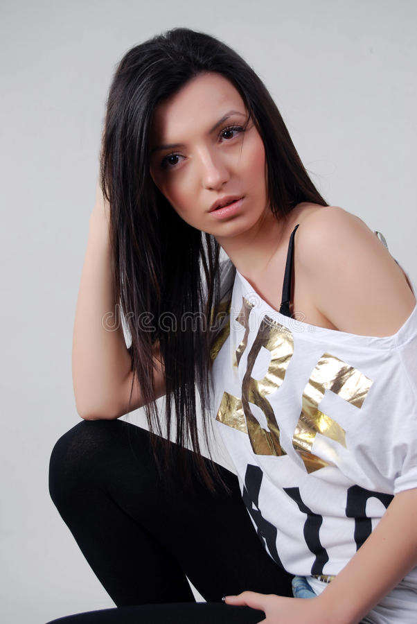 Download Brunette Woman Posing Stock Photo - Image: 25470270