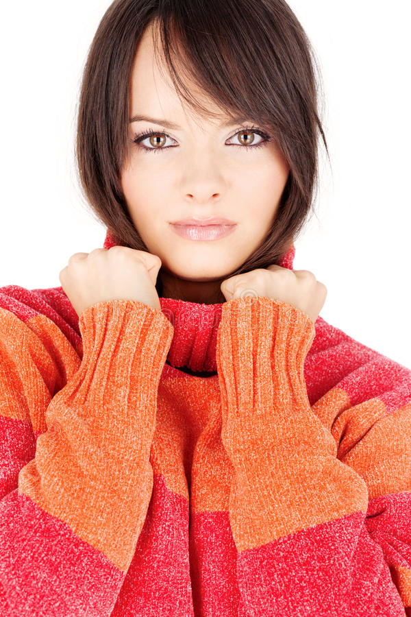Download Brunette Woman In A Red-orange Wool Sweater Stock Image - Image: 25228801