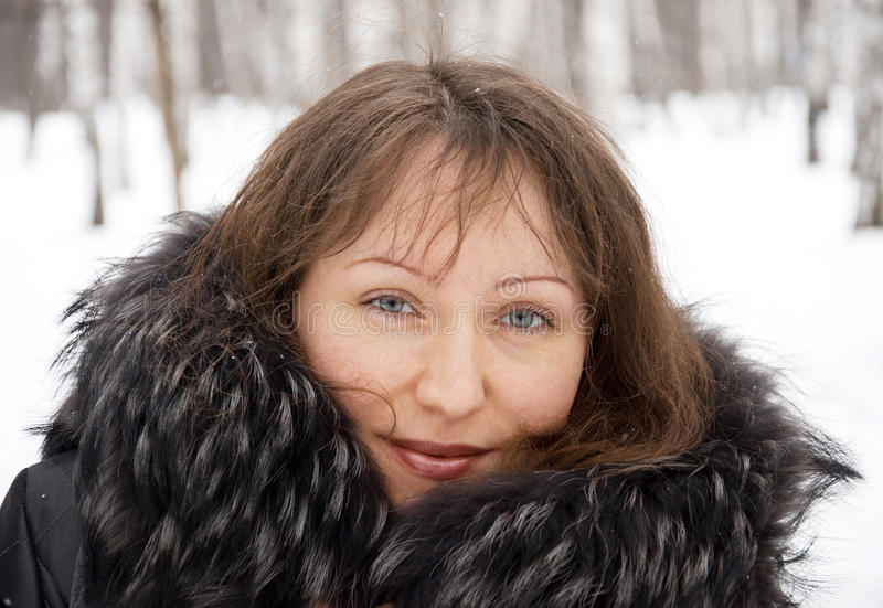 Download Brunette Woman In Snow Winter Park Stock Images - Image: 23770404