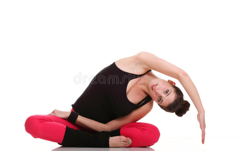 Download Brunette Woman Stretching Muscles Arms Isolated Stock Photo - Image: 24051574