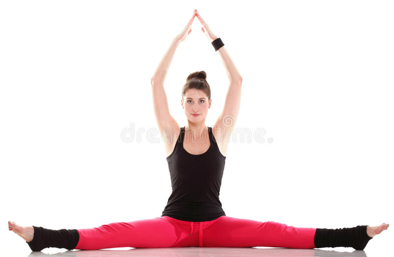 Download Brunette Woman Stretching Muscles Arms Isolated Stock Image - Image: 24287033