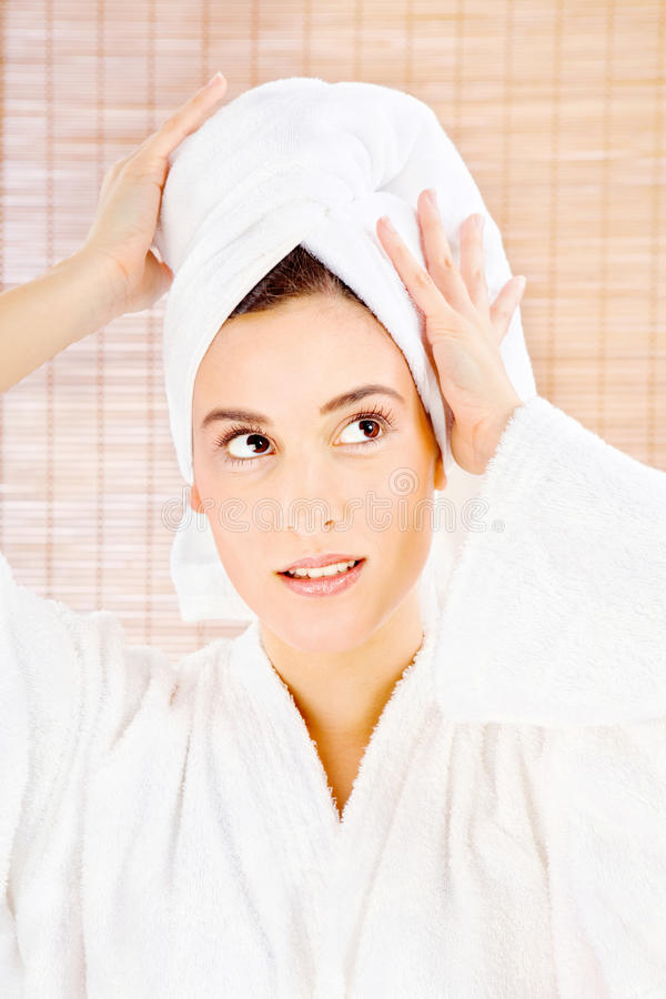Download Brunette woman with towel stock photo. Image of wellbeing - 33887830