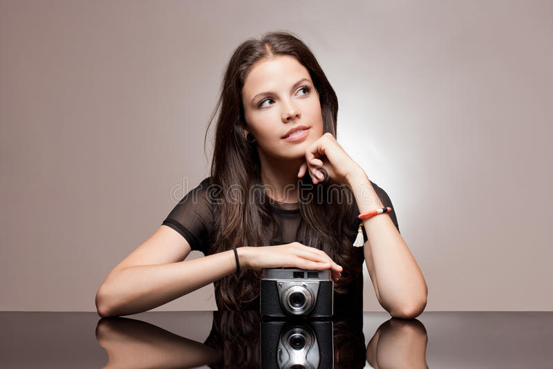 Download Brunette Woman With Vintage Camera. Stock Image - Image of gorgeous, film: 33708931