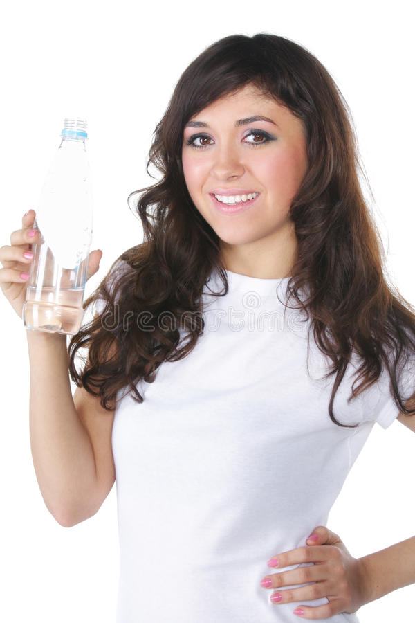 Brunette woman with water stock photos