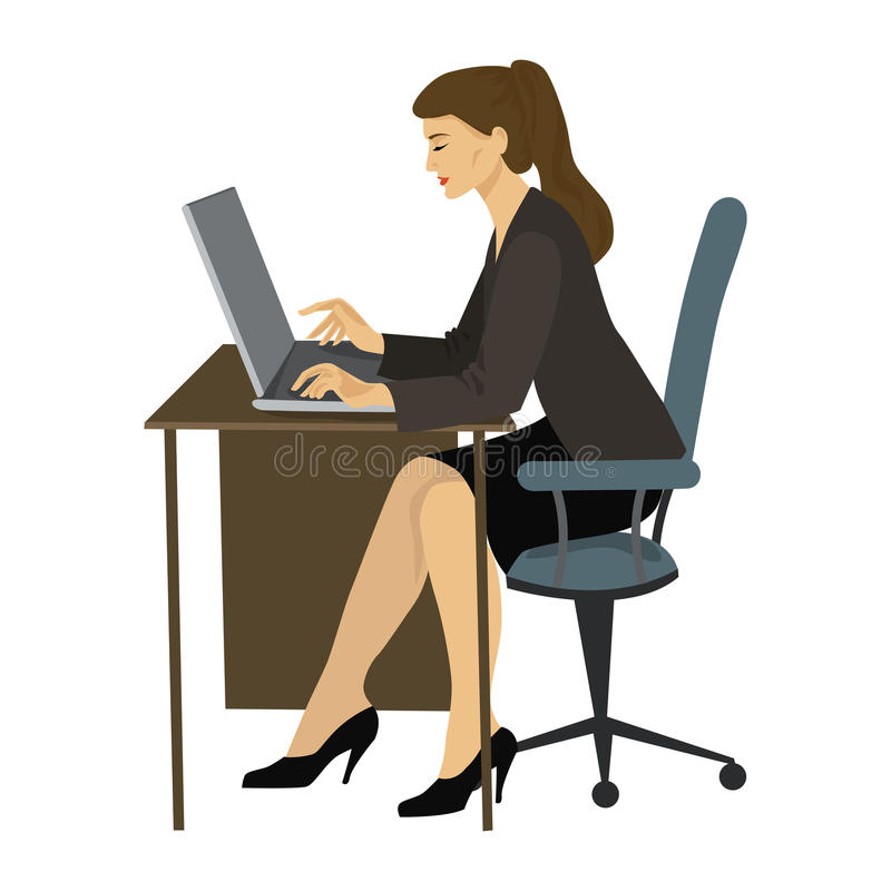 Brunette woman working on a laptop at the table stock illustration