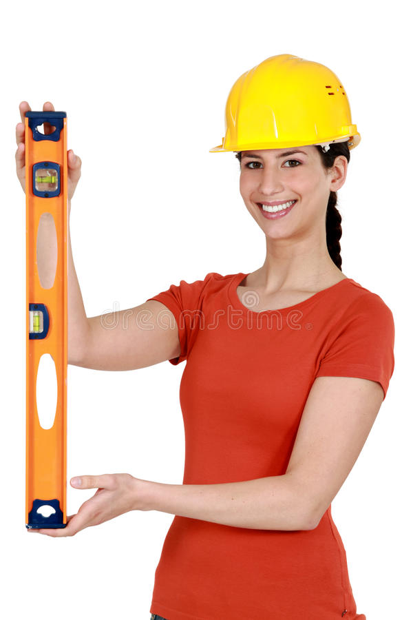 Brunette working as craftswoman royalty free stock image