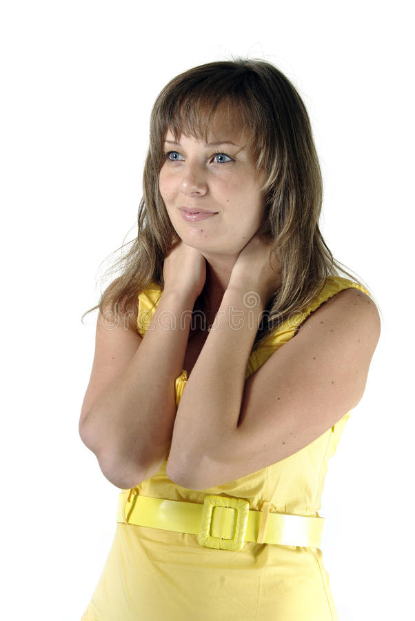 Download Brunette In Yellow Looks Left Isolated Stock Photo - Image: 20436776