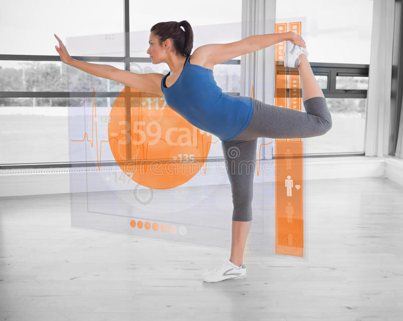 Brunette in yoga pose with futuristic interface next to her. Showing lost calories vector illustration