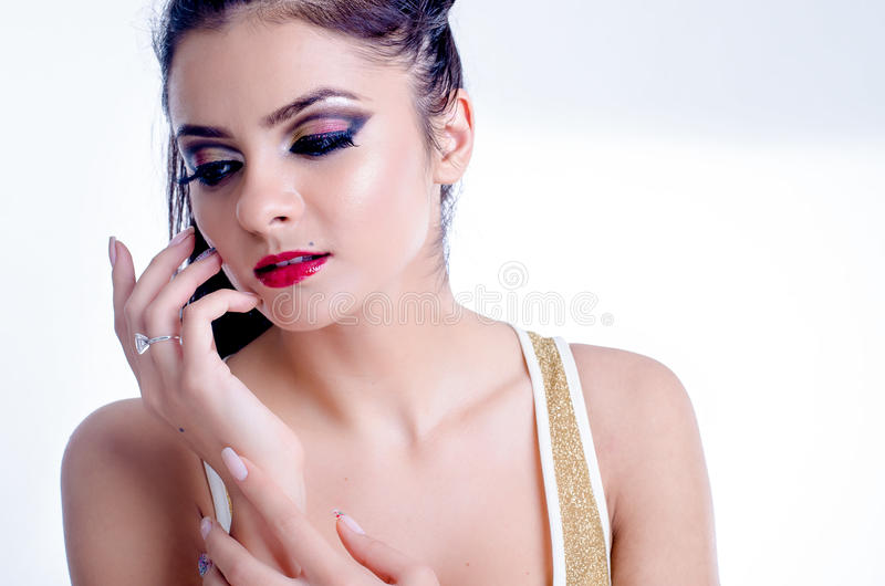 Brunette young beatiful woman royalty free stock images