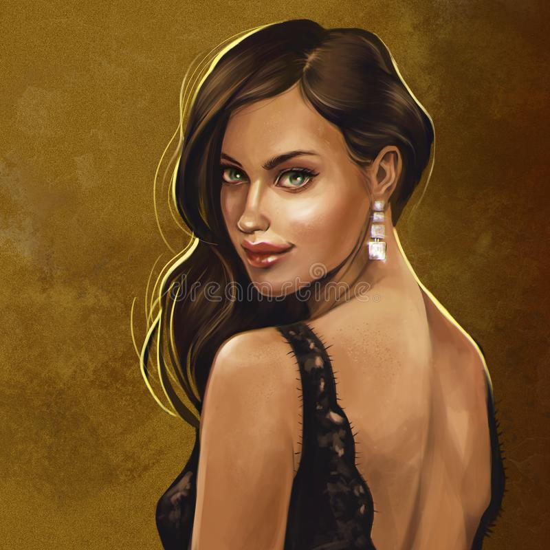 Brunette in zwarte kantkleding royalty-vrije illustratie