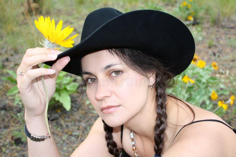Brunettecowgirl stockfotografie