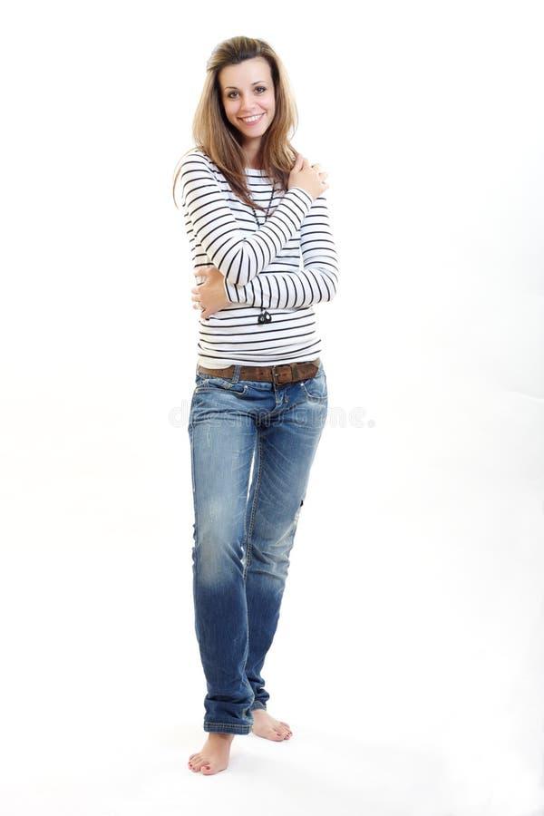 Brunettefrauenlächeln stockbilder