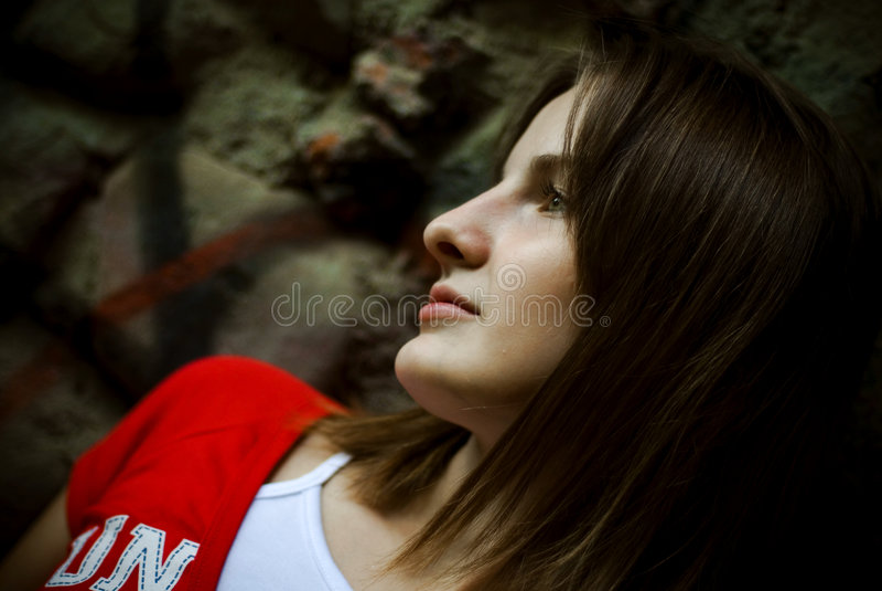 Brunettefrauenprofil   lizenzfreie stockfotos