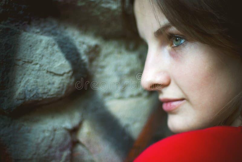 Brunettefrauenprofil lizenzfreie stockbilder
