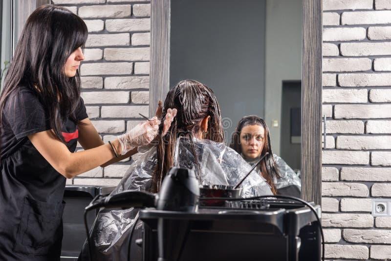 Brunettefriseur, der gänzlich Haar weiblichen Kunde usi färbt lizenzfreie stockfotografie