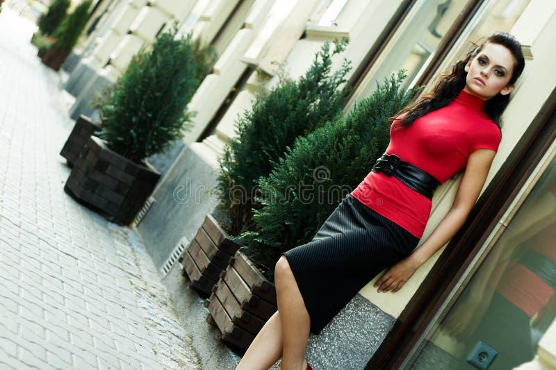 BrunetteGeschäftsfrau lizenzfreie stockfotos