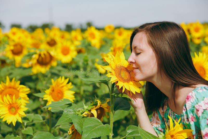 Brunettemädchen, das eine Sonnenblume auf dem Gebiet schnüffelt stockbild