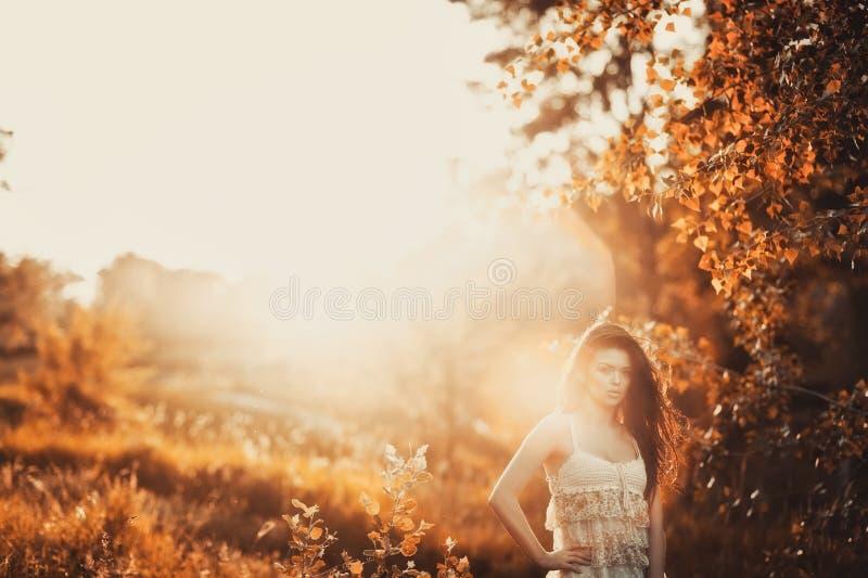 Brunettemädchen im kurzen Kleid in einem Park lizenzfreie stockfotos