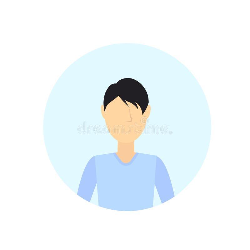 Brunettemannavatara lokalisierte gesichtslose männliche Zeichentrickfilm-Figur-Porträtebene vektor abbildung