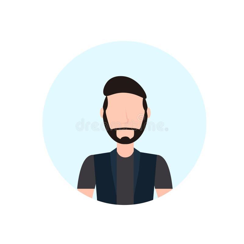 Brunettemannavatara lokalisierte Zeichentrickfilm-Figur-Porträtebene des gesichtslosen Bartes männliche stock abbildung