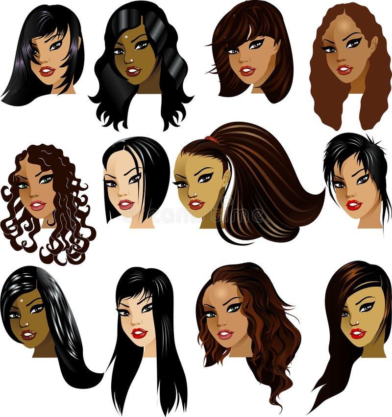 brunetten vänder kvinnor mot royaltyfri illustrationer
